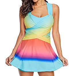 LMMET Costume da Bagno Donna,Estate Tankini,Costumi da Bagno,Bikini Due Pezzi,Taglie Forti Due Pezzi,Vita Alta,Spiaggia
