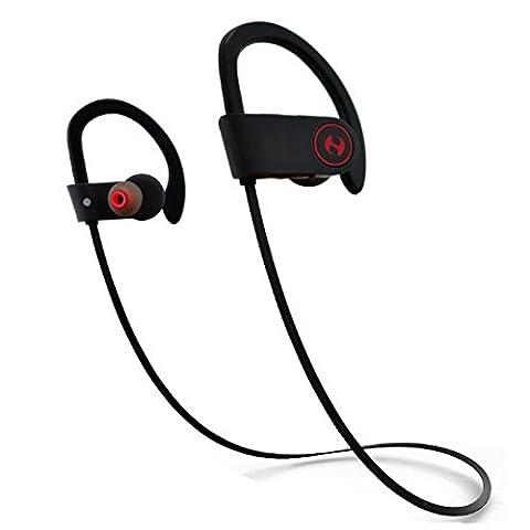 Husar, Bluetooth magicbuds Kabellose Kopfhörer, IPX4Schweiß-, Premium Sound mit Bass, Noise Cancelling, ergonomisches Design, sichere Passform, Reißverschluss Schutzhülle, 7Stunden Spielzeit mit Mikrofon