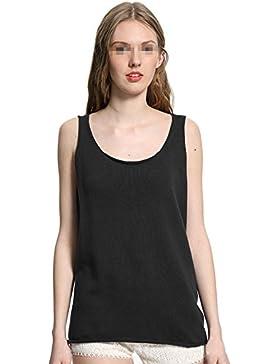 TININNA Donne Estate Cotone Loose Comodo Senza Maniche Vest Canotte T Shirt Canotte Biancheria intima (Nero)