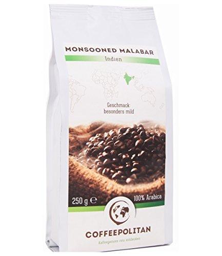 Coffeepolitan Monsooned Malabar - Röstkaffee aus Indien -ganze Bohne 250g 1 Packung (Indien Kaffee)