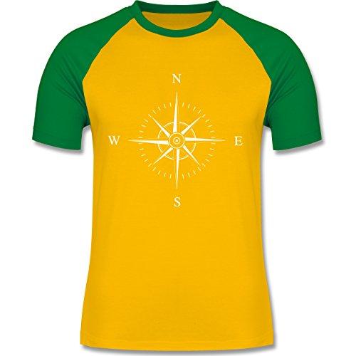 Statement Shirts Kompassrose zweifarbiges Baseballshirt für Männer Gelb/Grün