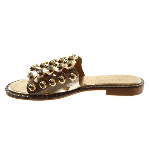Angkorly Scarpe Moda Sandali Mules Slip-On Donna Perforato Borchiati Perla Tacco a Blocco 2 cm Champagne
