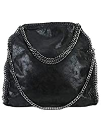 Limited-Colors Handtasche VIVIEN Lederlook Damen Schwarz Grau Rosa Jeans Shopper Beuteltasche mit Kette (Schwarz Glitzer)