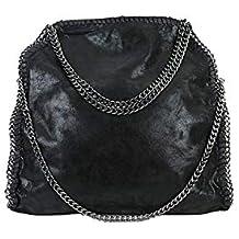 def04b7abec4e Limited-Colors Handtasche VIVIEN Lederlook Damen Schwarz Grau Rosa Jeans  Shopper Beuteltasche mit Kette (