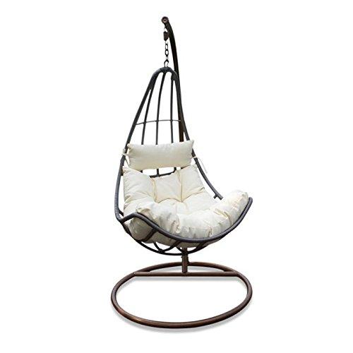 Sedia a dondolo sospesa in rattan per interno e esterno con cuscino Sofia