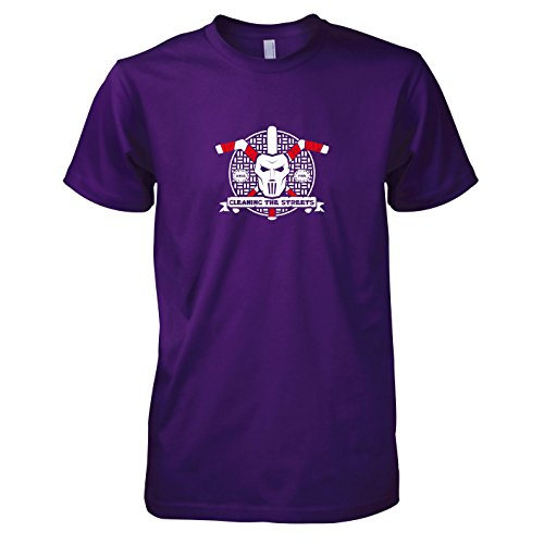 Turtles Kostüm Ninja Casey Jones - TEXLAB - Cleaning the Streets - Herren T-Shirt, Größe XXL, violett
