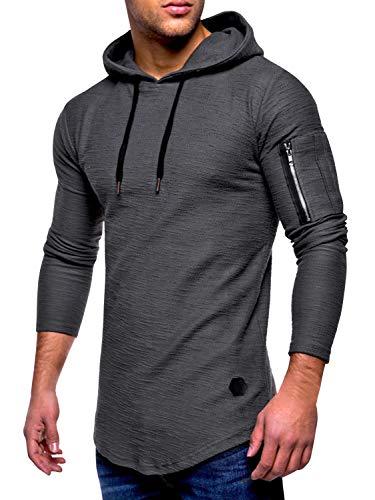 AitosuLa Pullover Herren Hoodie Rundhals Einfarbig Langarmshirt Slim Fit Basic Casual Kapuzenpullover Sweatshirt Tops Oberteile Base Long Sleeve T-Shirt Bluse Z-Grau XL