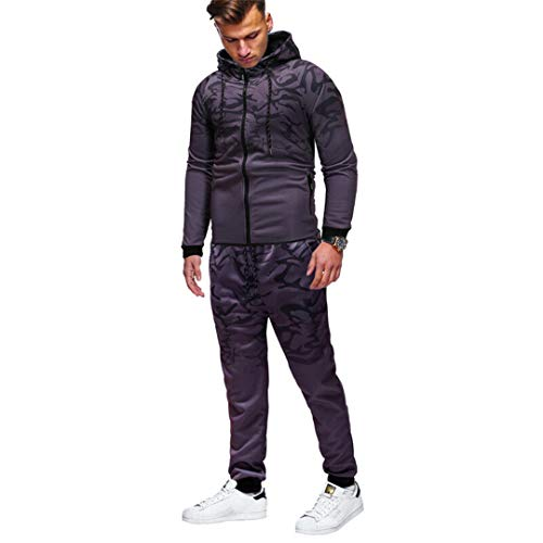 Mode MäNner Hip-Hop Set Zipper Up Hoodie LäSsige Bottoms Print Mit Hut Mit Tasche Set Dark Grey XL