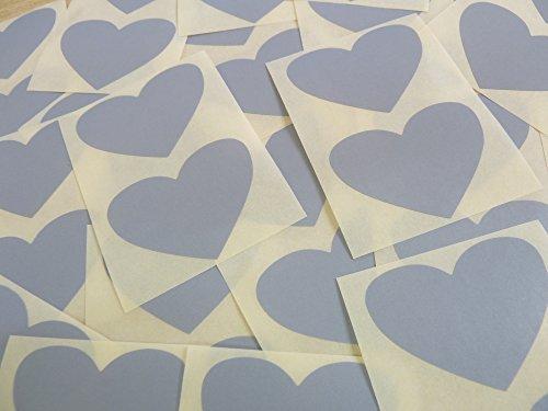 50x37mm Gris Con Forma De Corazón Etiquetas, 40 auta-Adhesivo Código De Color Adhesivos, adhesivo Corazones para Manualidades y Decoración