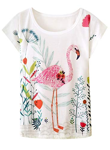 Doballa Damen Flamingo T-Shirt Floral Crown Garland Muster Kurzarm Niedlich Oberteile (XL, Blumenflamingo) (T-shirts Neck Womens Loose)