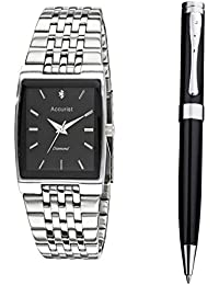 Accurist Men's Quartz Watch with Black Dial Analogue Display and Silver Stainless Steel Bracelet MB1121.01