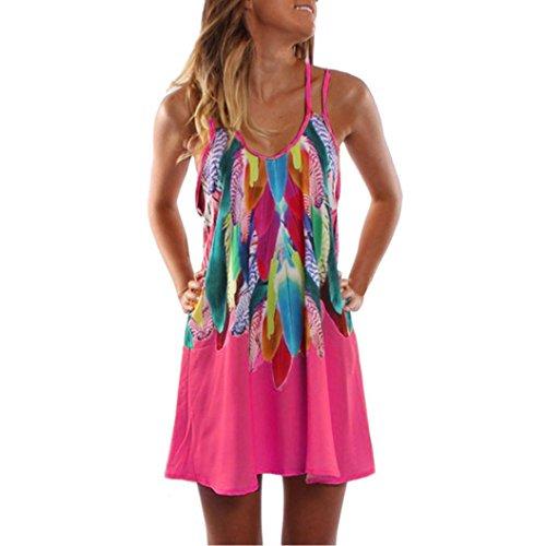 Internet-Kleider Sommerkleider Damen, Damen Sommer Boho Druck Mini Kleid Elegant A-Linie Ärmellos Strandkleid Beach Party Kleider Abendkleid Cocktailkleid Lässig Tank T-Shirt Kleider (Pink, ()