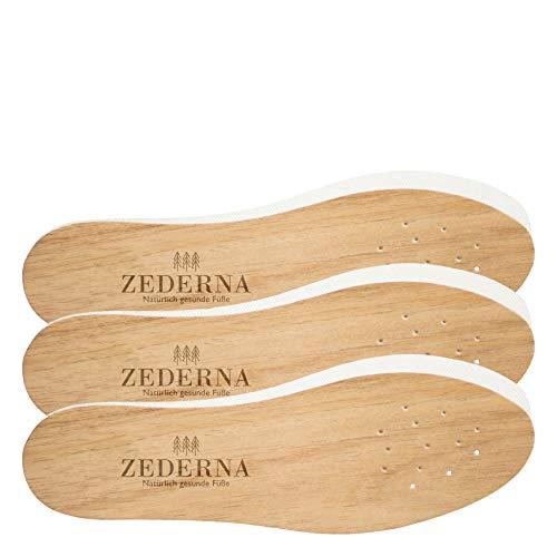 Original Zederna Zedernholzsohlen & Einlegesohlen für natürlich trockene Füße. Zedernsohlen gegen Fußgeruch, Fußpilz und Nagelpilz. Stoppt Schweißfüße. Beste Frischesohlen & Barfußsohlen. 3er Pack, 45 EU