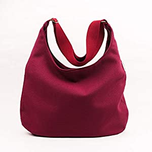 Dunkelrote Umhängetasche mit verstellbarem Baumwollriemen, Reißverschluss und Taschen