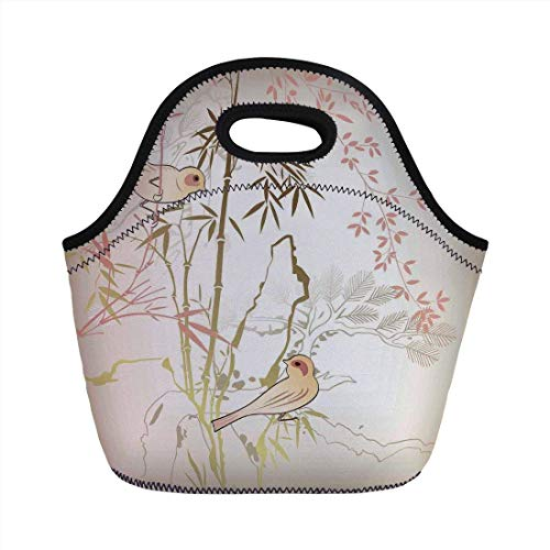 Portable Bento Lunch Bag,Vintage Bamboo Decor,Nature Bamboo Leaf and Bird Design Illustration Floral Animal Print,for Kids Adult Thermal Insulated Tote Bags -