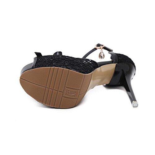 W&LM Signorina Tacchi alti sandali Bocca di pesce Ok Cravatta Pizzo sandali Piattaforma impermeabile Bocca poco profonda Scarpe singole Black