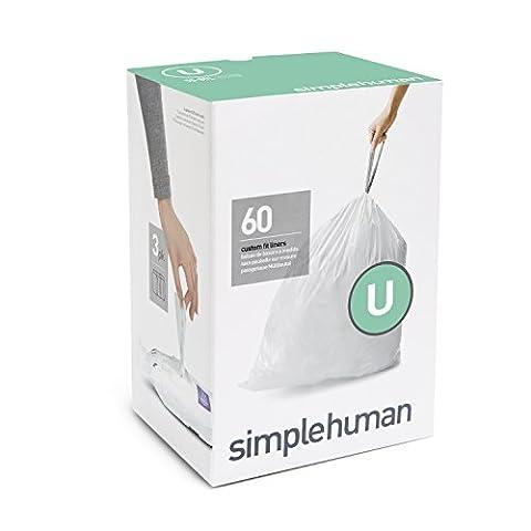 simplehuman Code U Plastic Custom Fit Bin Liner, Pack of 60, White