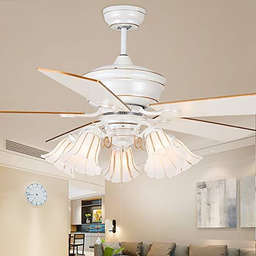 WWLONG Ventilador de Techo Ventilador Blanco luz 42 Pulgadas / 52 Pulgadas decoración de Hoja de Madera...