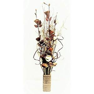 Conjunto floral orgánico hecho a mano de flores exóticas y hierbas indias secas de color natural con tonos chocolate, con florero de madera y 85 cm de altura