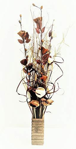 Natural & Chocolate Exotic Floral Display Bio handgefertigt Blumen und indischen Getrocknete Gräser. GRATIS Vase aus Holz. 85cm hoch.