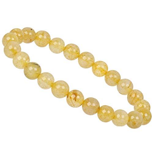PowerBead Edelstein Perlen Armband 8mm mit Rutilquarz gelb für Damen und Herren - Frauen Diamant-gold-armbänder Für