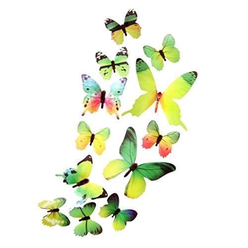 TIREOW 12 TLG 3D Wandtattoo Wand Aufkleber Schmetterlinge im 3D-Style, 12-Stück, Wanddekoration mit Klebepunkten zur Fixierung (Klebepunkten+ Magnet) (Grün)