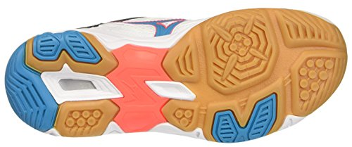 Mizuno Wave Twister Wos, Scarpe Indoor Multisport Donna Multicolore (White/AtomicBlue/FieryCoral)