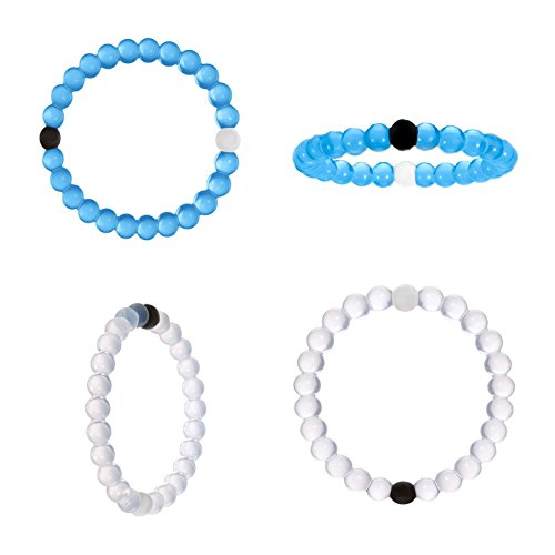 2 x braccialetti Balance, umiltà e speranza, Bianco e blu, elementi di terra acqua   Cinturino in silicone