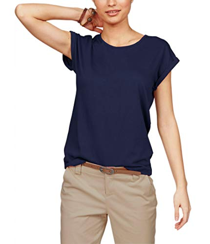 TrendiMax Damen T-Shirt Einfarbig Rundhals Kurzarm Sommer Shirt Locker Oberteile Basic Tops (Dunkelblau, L)