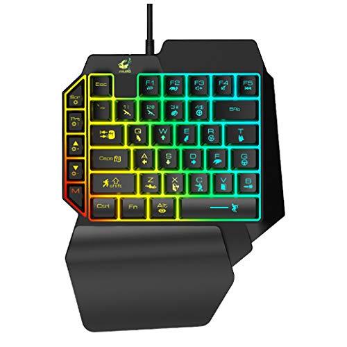 Wired Gaming Tastatur Keyboard KeyCaps,Nourich Business Tastatur Mini Ultra Thin Tastatur für PC Laptop mit LED-Hintergrundbeleuchtung 39 Tasten Einhand-Folientastatur (A) - Schnurgebundene Tastatur