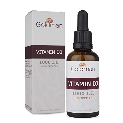 Goldman Vitamin D3 Flüssig • 50ml = 1850 Tropfen • 1 Tropfen = 25µg (1000 I.E.) • In MCT Öl gelöst • Vitamin D3 hochdosiert • Vegan, laktosefrei, glutenfrei • Made in Germany