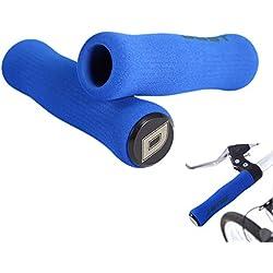 1par Puños de Espuma antideslizante bicicleta de montaña de ciclismo manillar Universales Ergonomicos (Azul)