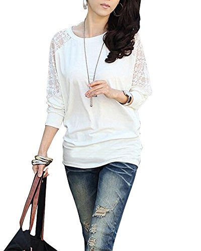 Damen T-Shirt Tops Bluse Bluse Tops Hemd Loses Lässige Mit Spitze Weiß