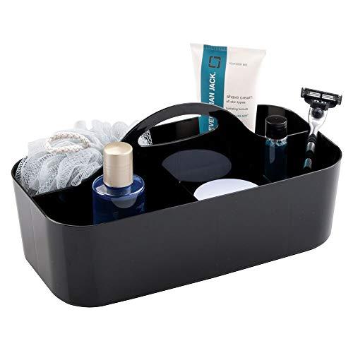 mDesign Badezimmer Korb - 6 Fächer - Organizer Dusche und Bad - Aufbewahrungsbox - Farbe: Schwarz - Mit Griff- Für Duschgel, Shampoo, Rasierer - Klassische Krippe Schuhe