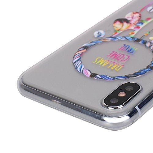 iPhone X Schutzhülle, Rosa Schleife iPhone 10 Ultra Dünn Transparent TPU Backcover Weiche Silikon Cases Cover Crystal Clear Hülle Kratzfest Handyhülle Schale Bumper für iPhone X / 10 Donuts Feder Traumfänger
