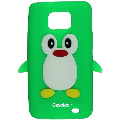 Casotec Penguin Silicone Jelly Back Case Cover for Samsung Galaxy S2 i9100 - Green  available at amazon for Rs.99