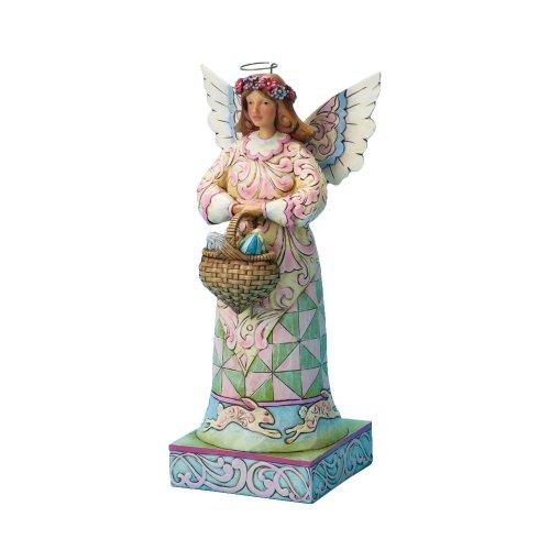 ENESCO Jim Shore für Ostern 25,4cm Engel EIN Korb von Ostern Eier auf quadratischer Boden Figur Farbe: Multi Farbe -