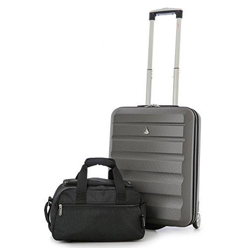 Aerolite 55x40x20 massimo Ryanair ABS trolley bagaglio a mano valigia rigida con 2 ruote (Valigia Carbone + Seconda Borsa Nero)