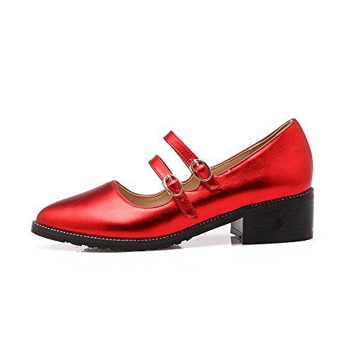 AllhqFashion Femme Pointu Boucle Pu Cuir Couleur Unie à Talon Correct Chaussures Légeres Rouge