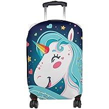 COOSUN Feliz Brillante Unicornio Imprimir Equipaje de Viaje Cubiertas Protectoras Lavable Spandex Equipaje Maleta Cubierta -