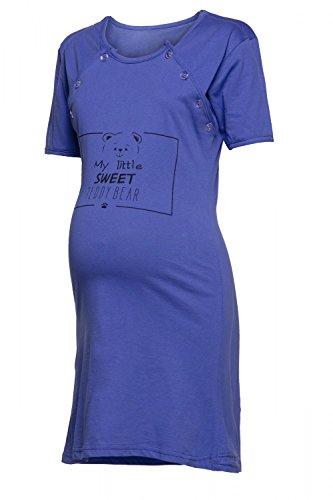 Happy Mama. Damen Umstands-Nachthemd mit Stillfunktion Stillshirt Kurzarm. 725p Königsblau