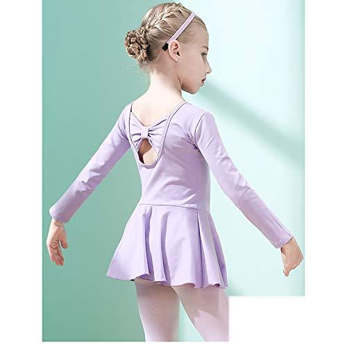 Kinder Tanzkleidung Mädchen Tanzkleidung Übungskleidung Ballett Rock Grading Kleidung Anzug Plus Samt lila Höhe 160 cm
