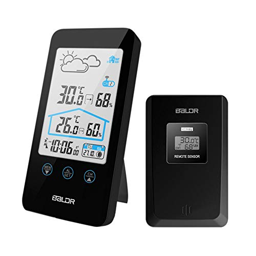CamGo Wireless Home Wetterstation LCD Temperatur Luftfeuchtigkeit Indoor & Outdoor, Alarm mit Snooze Schwarz
