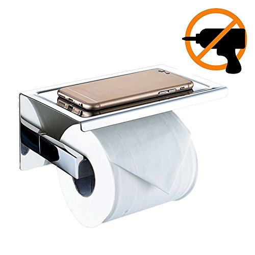 newpointer adhesiva para papel higiénico, ángulo Simple & montado en la pared sus 304Acero inoxidable papel higiénico soporte para papel higiénico baño percha de almacenamiento con funda para teléfono estante de almacenamiento, pulido