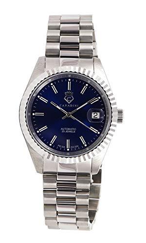 CAVADINI Leonardo Herren-Armbanduhr Automatik mit Schweizer Uhrwerk massiv Edelstahl CV-334 (blau/Silber)