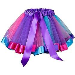 Falda del Tutu para Niña,SHOBDW Bebé Niños Enagua Arco Iris Pettiskirt Fiesta Linda Niños Vestidos de Cumpleaños Falda de Bowknot Ropa de Baile Princesa Traje de Baile(C,2-3 Años)