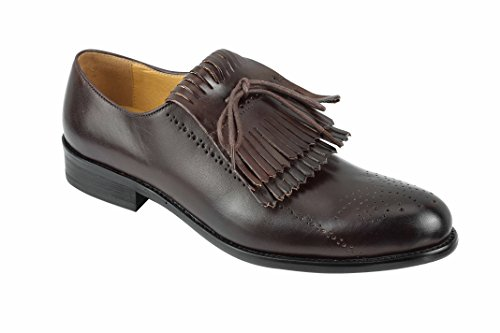 Uomo Nero Marrone frange vintage Lace Up staccabile in Maroon OXFORD Smart Abito da sera scarpe Marrone