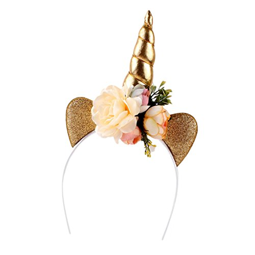 Sharplace Einhorn mit Ohren Blumen Haarreif Haarbänder Kinder Kopfschmuck Kopf Cosplay - Ohr-Gold