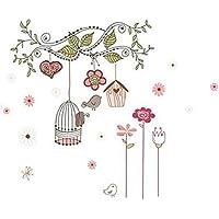 iTemer Vinilos decorativos pared dormitorio Pegatinas pared decorativas Stickers Decoracion pared Un hermoso regalo Pájaro feliz 80 * 95cm 1 set