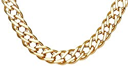 Citerna 9ct Yellow Gold Chunky Double Curb Necklace Chain - 7mm width,51 cm